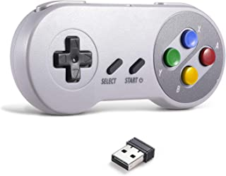 MODESLAB 2.4G Wireless Controller Chargeable Classic SNES USB Gamepad Joystick with USB Receiver Charging Cable for Games ...