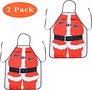 TINGOR 2Pcs Christmas Funny Flirty Apron, Cute Adjustable Kitchen Chef Bib BBQ Cooking Aprons for Adult,Holiday Kitchen Apron Funny Creative Thanksgiving (Red)