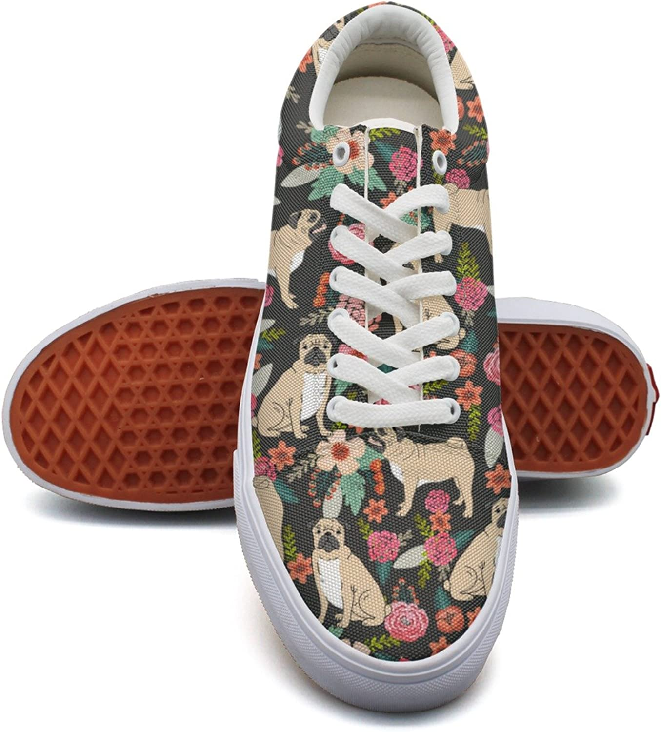Feenfling Vintage Pug Florals Pet Womens Casual Canvas Sneakers Low Top Exclusive Volleyball Sneakers for Women's
