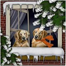 CafePress - Golden Retriever Dogs Winter Window Tile Coaster - Tile Coaster, Drink Coaster, Small Trivet