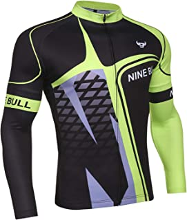 nine bull Men's Cycling Bike Jersey Long Sleeve with 3 Rear Pockets Moisture Wicking, Breathable, Quick Dry Biking Shirt