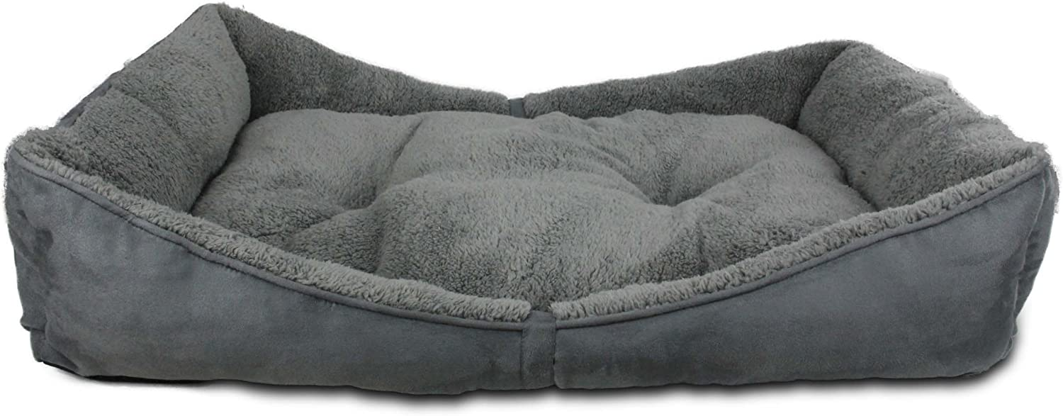 All for paws Lambswool Bolster Pet Bed, 41 by 26Inch, Grey