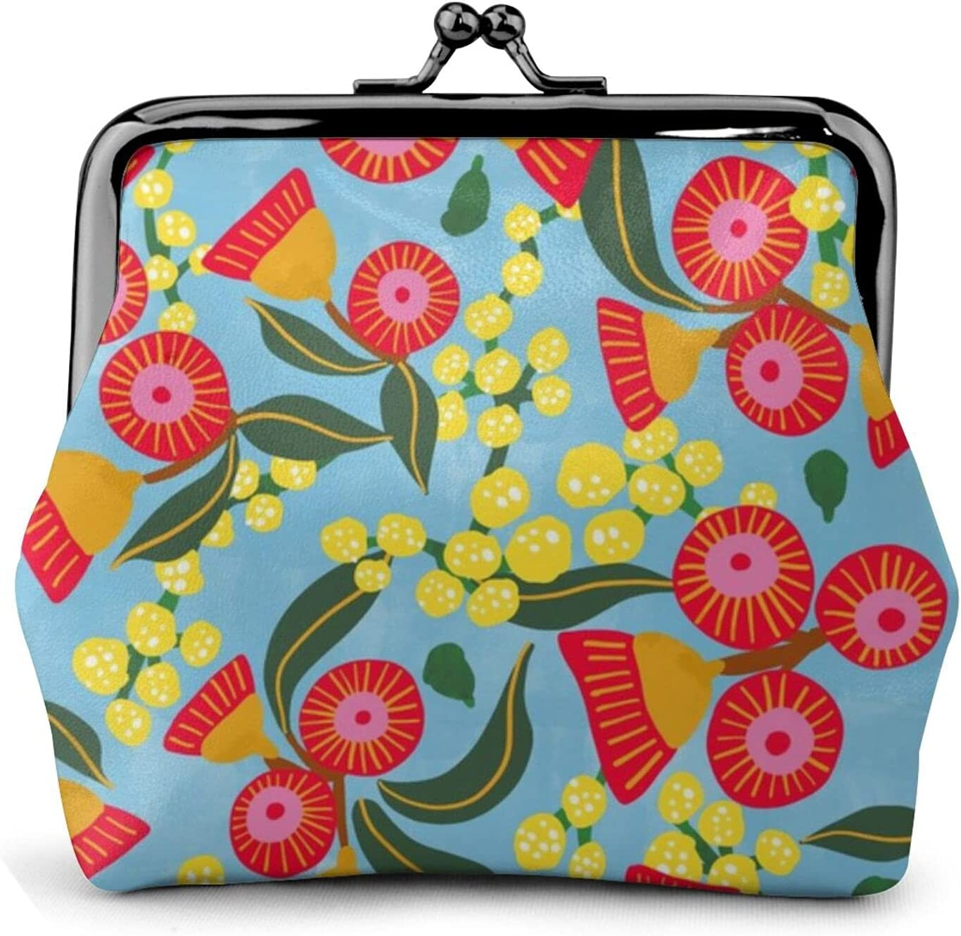 Australian Wattle U 224 Coin Purse Retro Money Pouch with Kiss-lock Buckle Small Wallet for Women and Girls