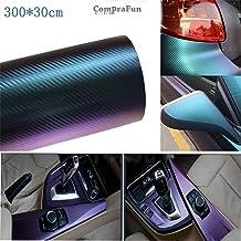 CompraFun Vinilo Fibra de Carbono, Película Pegatina de Decoración Autoadhesiva A Prueba de Agua Libre de Burbuja 300 * 30CM, Uso Exterior & Interior para Coche Moto Móvil Ordenador, Púrpura Azulada