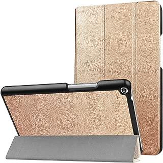 SHIHUI Phone Cases For Huawei MediaPad T3 8.0 Custer Texture Horizontal Flip Leather Case with 3-folding Holder(Black)(Dark Blue)(Orange)(Pink)(Green) etc (Color : Gold)