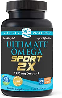 Nordic Naturals Ultimate Omega Sport 2X, Lemon Flavor - 2150 mg Omega-3 - 60 Soft Gels - NSF Certified Fish Oil with EPA &...
