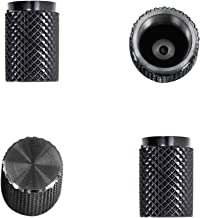 Divoti Precision CNC Machined Stainless Steel Tire Air Valve Caps, Wheel Tyre Stem Covers for Cars - Heavy-Duty, Airtight Seal, Textured Design, Screw-On, Dust-Proof - 2 Pairs - Black