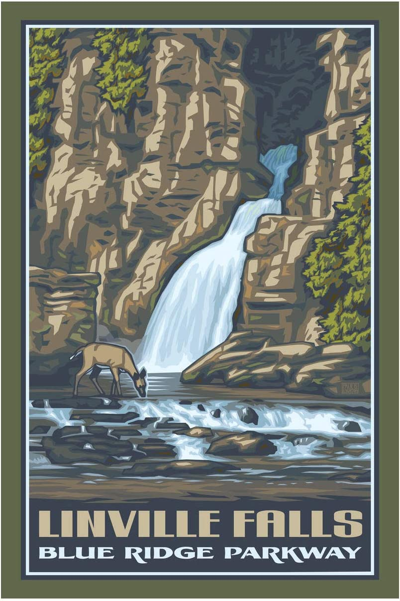 Linville Falls Giclee Art Print Poster from Travel Artwork by Artist Paul Leighton 12
