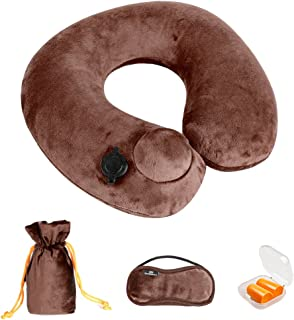 Doormoon Inflatable Travel Pillow, Portable Travel Pillow Lightweight for Airplane Travel with Packsack, Eye Mask - Brown