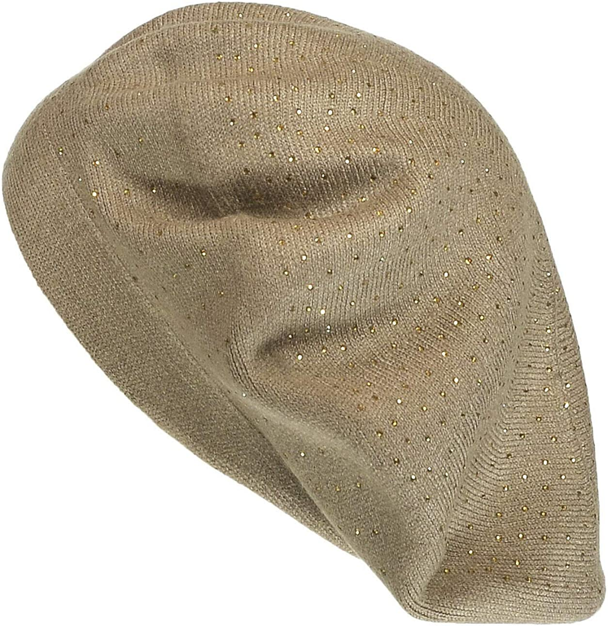 T Store Taupe Women's Double Layer Rhinestone Beret Cashmere Blend Soft Warmth Hat #APTM