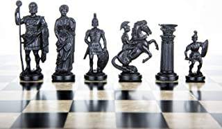 "3 3/4"" Black & White Roman Legion Plastic Chess Pieces - Felted"