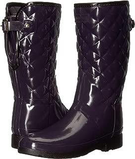 Hunter Womens Refined Gloss Quilt Short Rain Boots