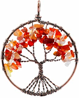 TUMBEELLUWA Tree of Life Pendant Healing Crystal Necklace Gemstone Chakra Copper Plated Handmade Jewelry for Women Men