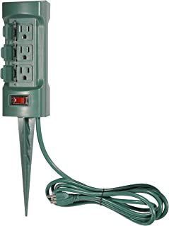 BESTTEN Outdoor Weatherproof Power Strip with Cover and On Off Switch, 6-Outlet Yard Stake with 9-Foot Long Extension Cord, ETL Certified, Green