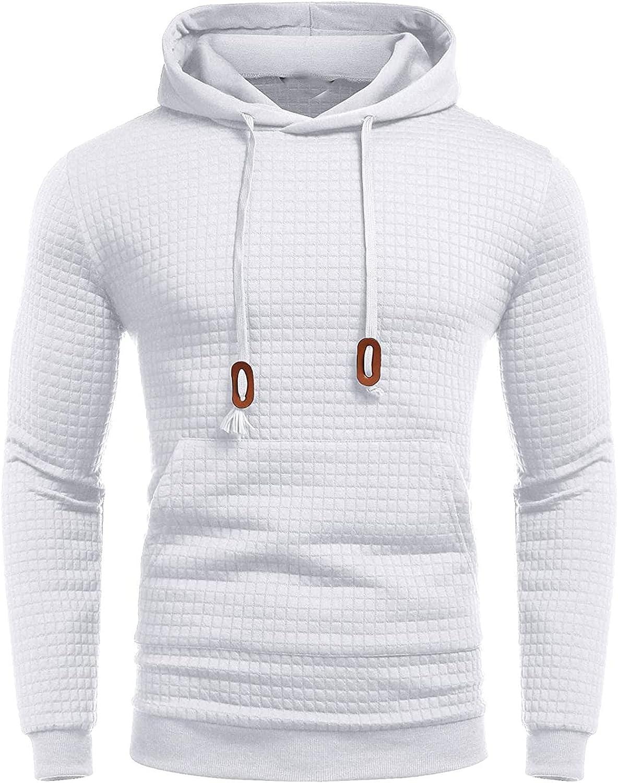 Men's Hoodies Fashion Square Pattern Athletic Hoodies Sport Sweatshirt Fleece Pullover Drawstring Tops With Pocket