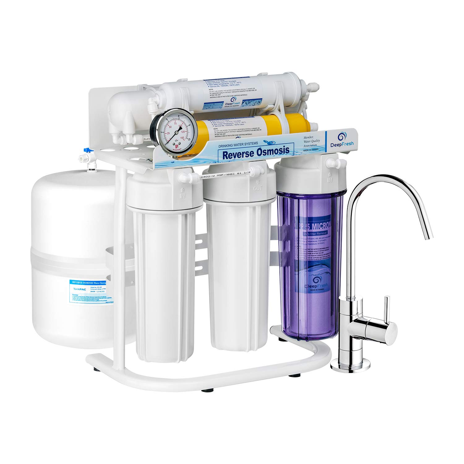 DeepFresh Water Filtration System Reverse Osmosis Water Filter System for Home Use 6-Stage Alkaline Water Filter System with 5-Gallon Pressurize Tank NSF Certified pH+ 75 GPD RO Filtration