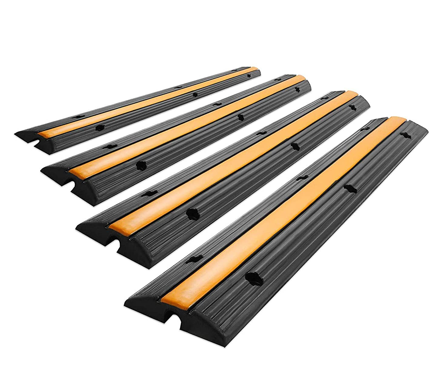4 Pack of 1 Channel Rubber Cable Protector Ramp Traffic Wire Cover Capacity 18000 lbs Rubber Speed Bump