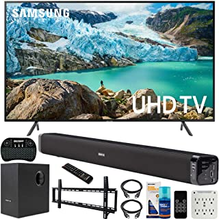 Samsung UN58RU7100 58-inch RU7100 LED Smart 4K UHD TV (2019) Bundle with Deco Gear Soundbar with Subwoofer, Wall Mount Kit, Deco Gear Wireless Keyboard, Cleaning Kit and 6-Outlet Surge Adapter