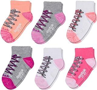 Reebok Baby Girls 6 Pack Quarter Cut Socks with Nonslip Traction Grips (Infant/Toddler)