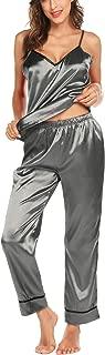Romanstii Silk Satin Pajamas Sleepwear Set Cami Soft PJ Set Sexy Nightwear S-XXL