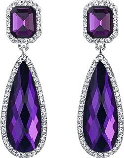 Women's Wedding Bridal Crystal Asscher Cut Elongated Faceted Teardrop Infinity Figure 8 Dangle Earrings
