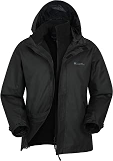 Mountain Warehouse Fell Mens 3 in 1 Water Resistant Jacket - Adjustable Hood Mens Coat, Detachable Inner Fleece Rain Jacke...
