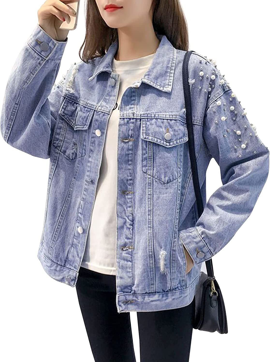 Hixiaohe Women's Casual Loose Pearls Beading Denim Jackets Button Down Ripped Jean Coat