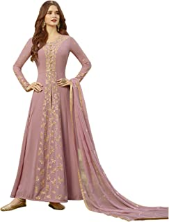 Fashion Basket Womens Faux Georgette Anarkali Embroidered Semi Stitched Salwar suit
