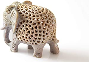 Nirvana Class Handmade Stone Lucky Elephant Figurine Animal Statue in Jali Or Openwork from a Single Block of Stone Home Decor