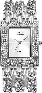 Women Luxury Iced Out Bling Watch Square Silver Rhinestones Crystal Bezel Bracelet Bangle Cuff Casual Fashion Dress Wrist Watch