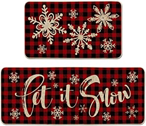 Artoid Mode Buffalo Plaid Snow Decorative Kitchen Rugs Set of 2 , Let It Snow Xmas Winter Holiday Party Low-Profile Floor Mat Merry Christmas Decorations for Home Kitchen - 17x29 and 17x47 Inch