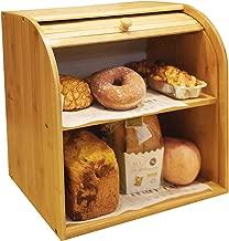 "Goodpick Bamboo Bread Box - 2 Layer Large Capacity Bread Box - Countertop Bread Storage Bin - Rolltop Breadbox - Bread Boxes for Kitchen Counter Large Capacity Bread Keeper,14.2"" x 14.2"