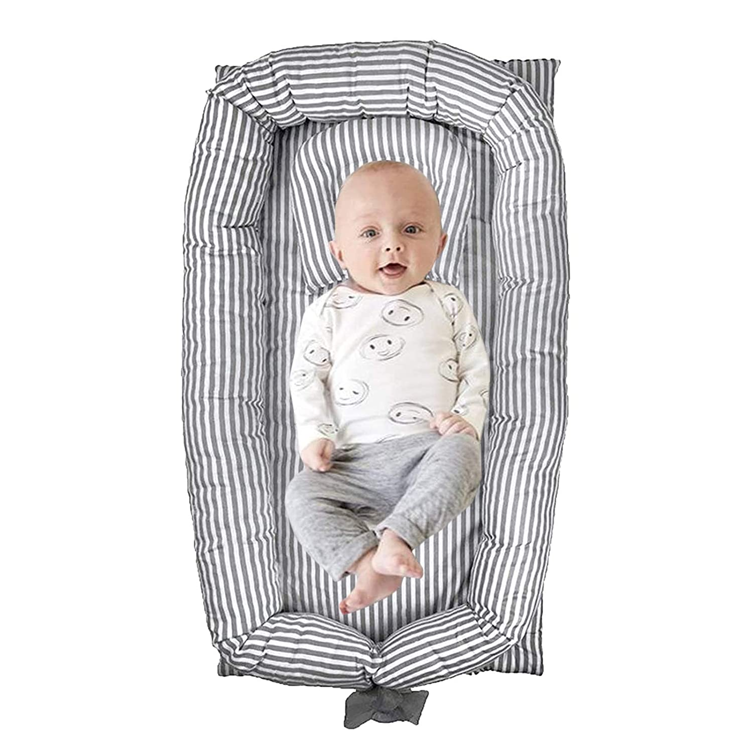 ABREEZE Baby Nest Baby Lounger Grey Striped Baby Lounger Breathable, Washable, Portable and Lightweight Perfect for Cuddling, Lounging, Co Sleeping, Napping and Travel Bassinet(0-24 Months)