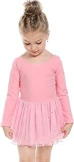 Girls' Classic Long Sleeve Sequins Tutu Dress Leotard