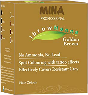 MINA Professional Eyebrow Henna Refill Pack & Tinting Kit For Eyebrow Color Golden Brown