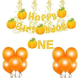 "pumpkin Birthday Decorations, yellow Glitter pumpkin Themed Decor Set fall birthday Decorations,""happy birthday""Banner、the""one""banner、Hanging Swirls、 pumpkin balloons for baby 1st Birthday Party Supplies"