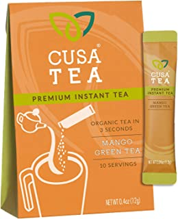 Cusa Tea: Premium Instant Tea - Single-Serve Packets - 100% Organic - Real Fruit and Spices - No Artificial Flavors - Make Hot & Cold Tea in Seconds - Mango Green Tea 10 servings