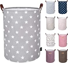 DOKEHOM 19-Inches Thickened Large Laundry Basket -(9 Colors)- with Durable Leather Handle, Drawstring Waterproof Round Cot...