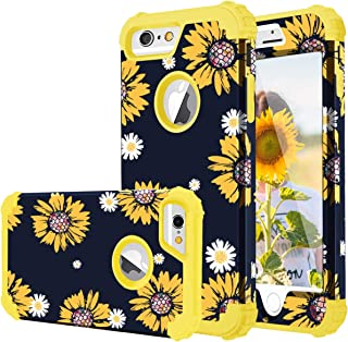 Fingic iPhone 6 Case, iPhone 6s Case, Sunflower 3 in 1 Heavy Duty Protection Hybrid Hard PC Soft Silicone Rugged Bumper Anti Slip Full-Body Shockproof Protective Case for iPhone 6s/6 4.7 inch, Yellow