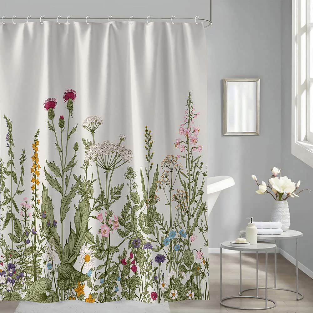 Flower Shower Curtain, Vintage Nature Plant Rustic Fragrant Grass Botanical Blossom Decor Fabric Bathroom Set, Waterproof Washable Polyester Bath Curtain with 12 Hooks (Multi Color, 72 x 72 Inches)