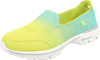 KazarMax Women's Lemon & Turquoise Light Weigh Slipon's Walking Sneakers/Shoes (Washable with Quick Dry Fabric)