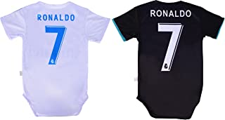 Baby Cristiano Ronaldo #7 Real Madrid Soccer Jersey Baby Infant and Toddler Onesie Romper Premium Quality - Home and Away Pack of 2