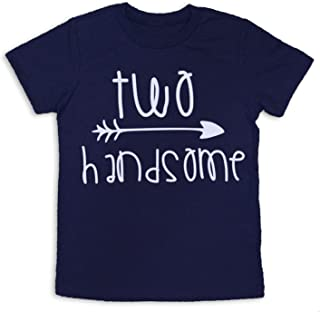 Second Birthday Shirt Two Handsome Shirt 2nd Birthday Tee (Navy Blue, 2T)