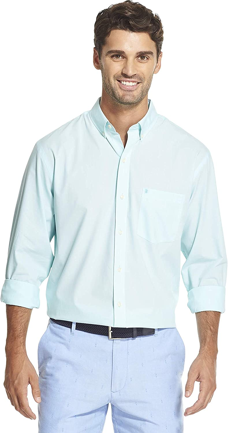 IZOD Men's Slim Fit Button Down Long Sleeve Stretch Performance Solid Shirt