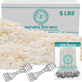 "Hearts and Crafts Soy Candle Wax and Wicks for Candle Making, All-Natural - 5lb Bag with 100ct 6"" Pre-Waxed Candle Wicks, 2 Centering Device"
