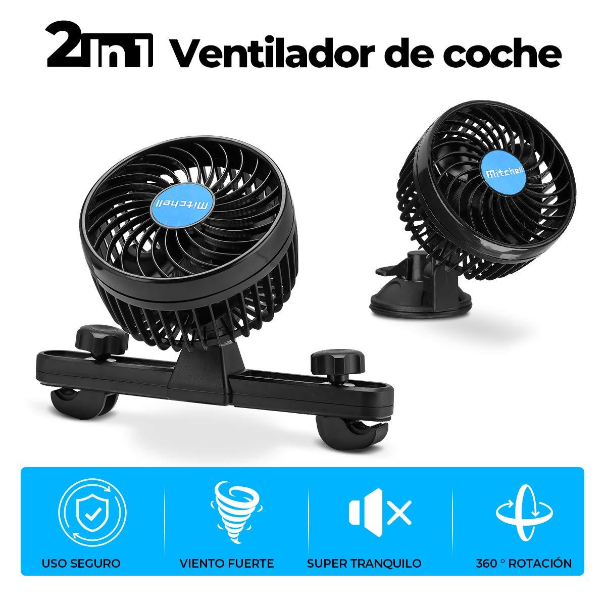Amazon.es: Ventilador Coche Mechero Portatil Electrico Silencioso 12V Mini Fan de 360 Grados Rotativo 2 Soportes Velocidad Ajustable para Caravana, Furgoneta