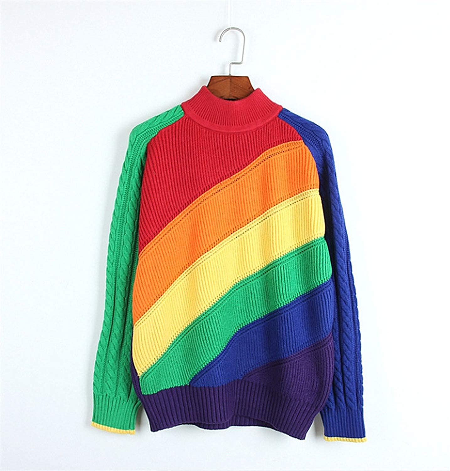 colorful Dream Women Jersey Rainbow Sweater Multicolor Striped Slim Casual Sweater Women Harajuku