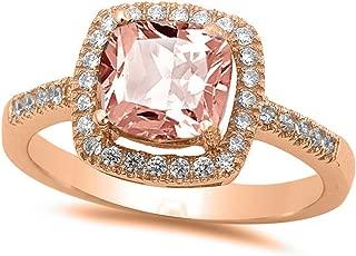 NYC Sterling Princess Halo Cubic Zirconia Simulated Morganite Ring