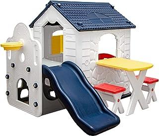 LittleTom Maison de Jeux avec Toboggan pour Enfants - 1 An - Cabane de Jardin Extérieur Intérieur