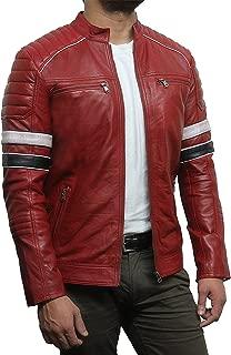 Brandslock Mens Leather Biker Racing Jacket Genuine Lambskin